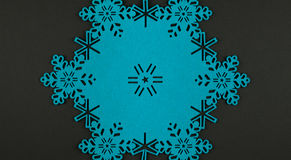 Unusual design christmas background with blue snowflakes and copy space Stock Images