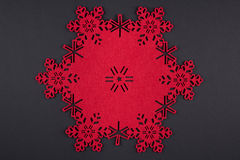 Unusual design christmas background with red snowflakes and copy space Stock Images