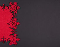 Unusual design christmas background with red snowflakes and copy space Royalty Free Stock Images