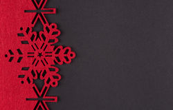 Unusual design christmas background with red snowflakes and copy space Royalty Free Stock Photos
