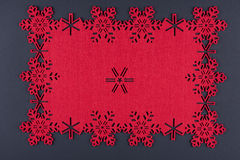 Unusual design christmas background with red snowflakes and copy space Stock Photography