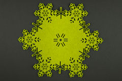 Unusual design christmas background with yellow snowflakes and copy space Royalty Free Stock Images