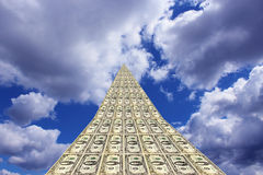 Unusual dollar road going away to blue sky Stock Photo
