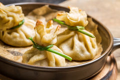 Unusual dumplings with mushrooms Royalty Free Stock Photo
