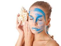 Unusual facial make-up model Stock Photography