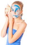 Unusual facial make-up model Stock Photo