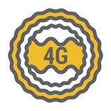Unusual flat 4g logo icon with geometric design. Rounded signal area, waves abstract royalty free illustration