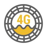 Unusual flat 4g sticker icon with geometric design. Rounded signal area, waves, antenna stock illustration