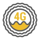 Unusual flat 4g sticker icon with geometric design. Rounded signal area, waves, antenna royalty free illustration