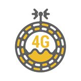 Unusual flat 4g sticker icon with geometric design. Rounded signal area, waves, antenna vector illustration