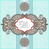 Unusual floral ornamental template with place for Royalty Free Stock Image