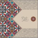 Unusual floral ornamental template with place for Royalty Free Stock Images