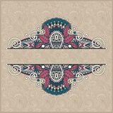 Unusual floral ornamental template with place for Royalty Free Stock Photography
