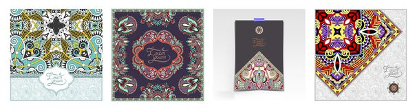 Unusual floral ornamental template with place for your text, oriental vintage pattern. For invitation party card, brochure design, postcard, packing, book cover stock illustration