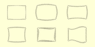 Unusual Frames Collection #1. Six Vector Guilloche Borders (all stroke widths are editable Royalty Free Stock Images