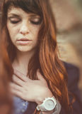 Unusual freckle woman urban fashion European style Royalty Free Stock Photography