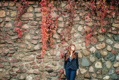 Unusual freckle woman urban fashion European style Royalty Free Stock Photo