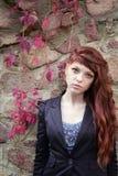 unusual freckles woman urban fashion European style Royalty Free Stock Photos
