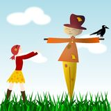 Unusual friends. Illustration of a girl walking to hug a scarecrow Stock Photos