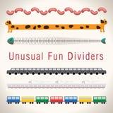 Unusual Fun Colorful Dividers. Set of 6 Unusual Fun Colorful Dividers Royalty Free Stock Photography