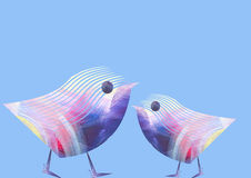 Unusual funny beauty isolated pair of birds on blue background. Abstract painting. Bird design. Logo, emblem. Unusual funny beauty isolated pair of birds on Royalty Free Stock Photos