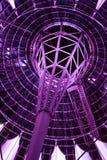Unusual futuristic building in violet. Beautiful unusual futuristic building in violet light, evening, Berlin, Germany stock photo