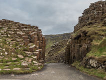 Unusual geology at Giants Causeway Ireland Stock Image