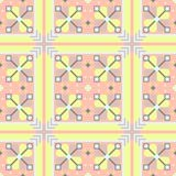 Unusual geometrical seamless pattern in the Bulgarian style. With squares stock illustration