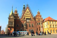 WROCLAW, POLAND - MARCH 9, 2014: scenic town hall on the market square in wroclaw, breslau, lower silesia, poland. Unusual gothic and renaissance town hall in stock photo