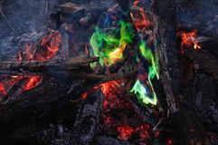 Unusual green flame Stock Photo
