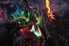 Unusual green flame Stock Image