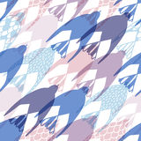 Unusual hand drawn flying birds seamless pattern. In pale shades Stock Photography