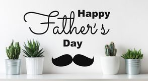 Unusual Happy Father`s day Background. Crazy Cactus Father day greeting card. Potted cactus house plants Fathers day web banner. Unusual Happy Father`s day royalty free stock images