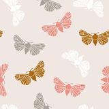 Unusual hipster seamless pattern with  clothes moth. Vector background. Stock Photos