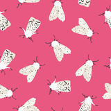 Unusual hipster seamless pattern with  clothes moth. Royalty Free Stock Photo