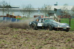 A Corvette Stingray rallycar in Belgium. A corvette Stingray taking part in the TAC Rally in Belgium. He had some problems on the gravel section due the low car Stock Images