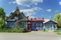 The unusual house in the Russian village Stock Photo