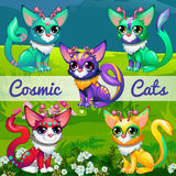 Unusual illustration with cosmic cats Royalty Free Stock Photo