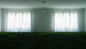 Unusual illustration of a large white room, with a lawn inside and a small light bulb Stock Photos