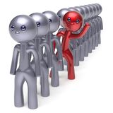 Unusual individuality man character stand out from crowd. Men stylized different people unique red think differ person otherwise hello new opportunities concept Royalty Free Stock Photos