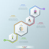Unusual infographic design template. 4 hexagonal elements with pictograms and text boxes. Four steps of business development concept. Vector illustration for Royalty Free Stock Photography