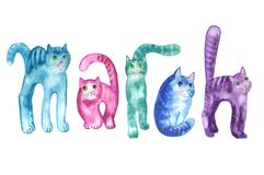 Unusual inscription MARCH five cats royalty free illustration