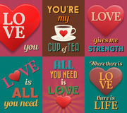 Unusual inspirational love posters. Set 1. Royalty Free Stock Photo
