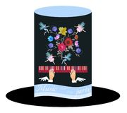 Unusual invitation card for music party. Black Hat Cylinder with Blue Ribbon, bouquet of garden flowers and tiny winged fairy and. Elf dancing in the air vector illustration