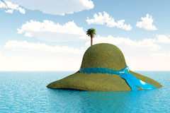 Unusual island with palm tree. Hat island in the sea, funny landscape Stock Images