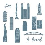 Unusual Japanese architecture. Travel and leisure. Unusual Japanese architecture. Famous building and skyscrapers. Travel and leisure stock illustration