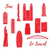 Unusual Japanese architecture. Travel and leisure. Unusual Japanese architecture. Famous building and skyscrapers. Travel and leisure vector illustration