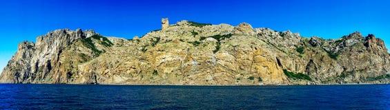 Unusual karadag mountains in the Eastern Crimea. Amazing panoramic view Karadag rocks. Koktebel. Crimea royalty free stock images