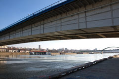 Unusual landscape of Belgrade viewed under the bridge Stock Photography