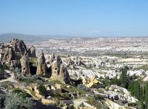 Unusual landscape of Cappadocia. Royalty Free Stock Images